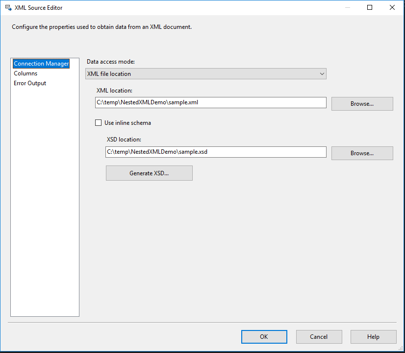 Reading Nested XML Data in SSIS